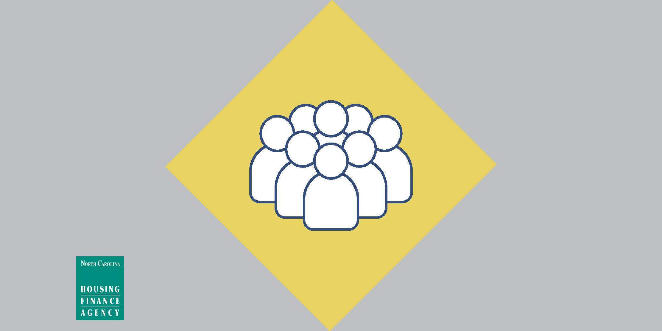 Gray and yellow graphic with outline of people in center