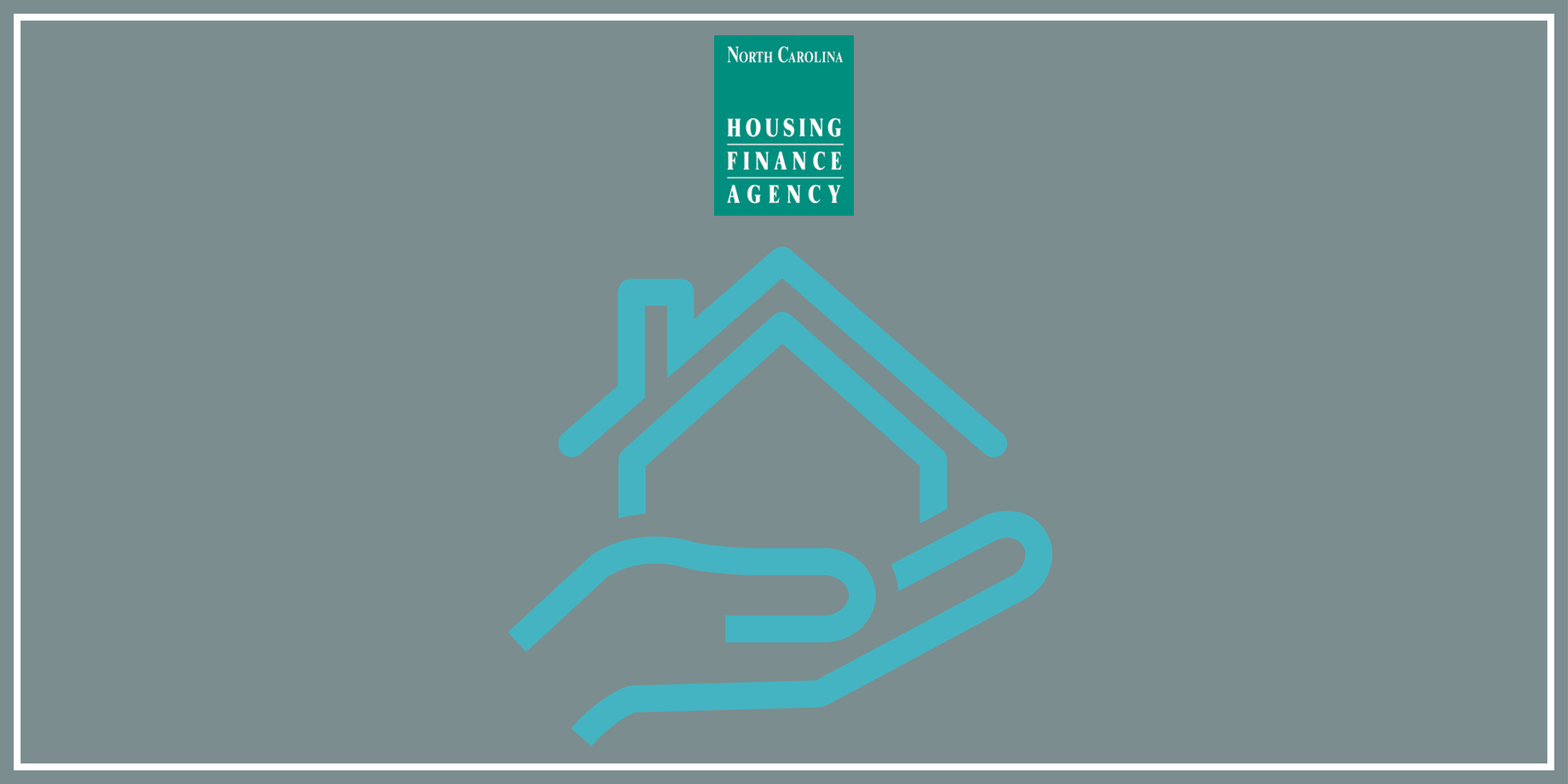 Blue hand holding blue house graphic with Agency logo above