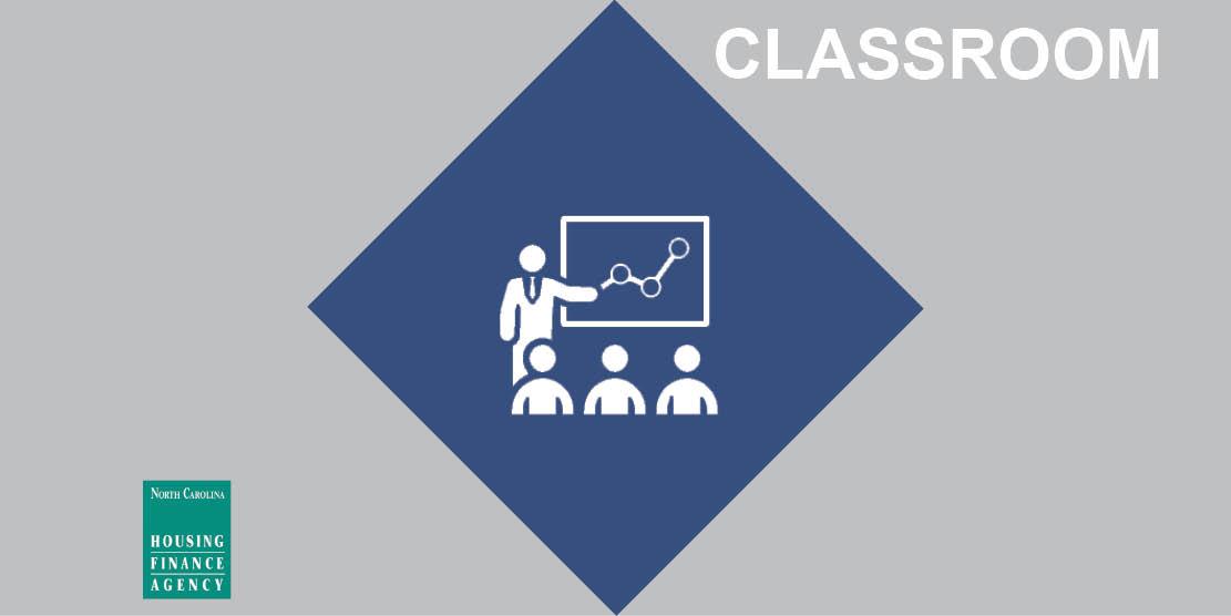 Classroom graphic in center of navy diamond