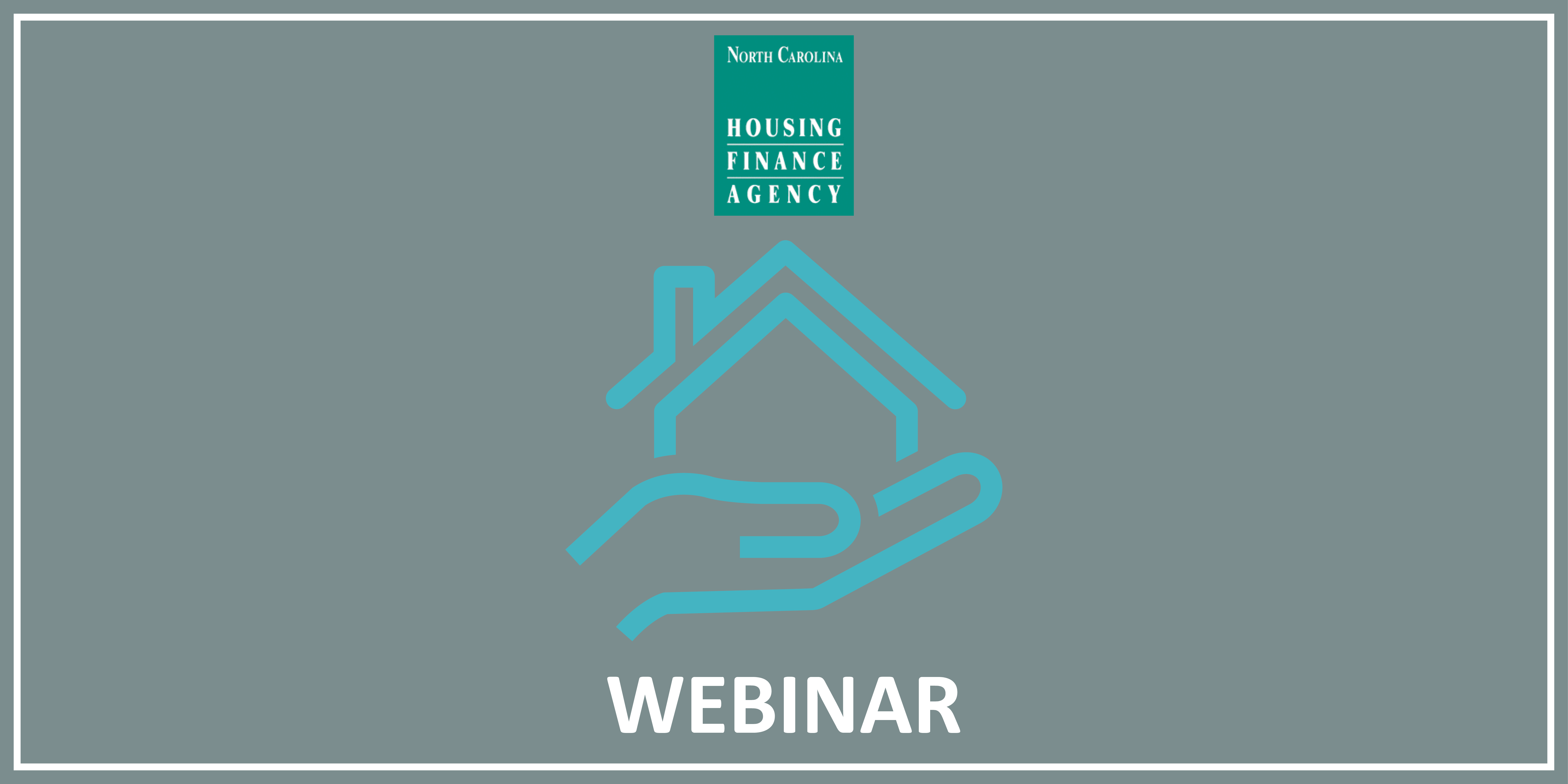 Blue icon of a house in a hand with the Agency logo on top and WEBINAR written below