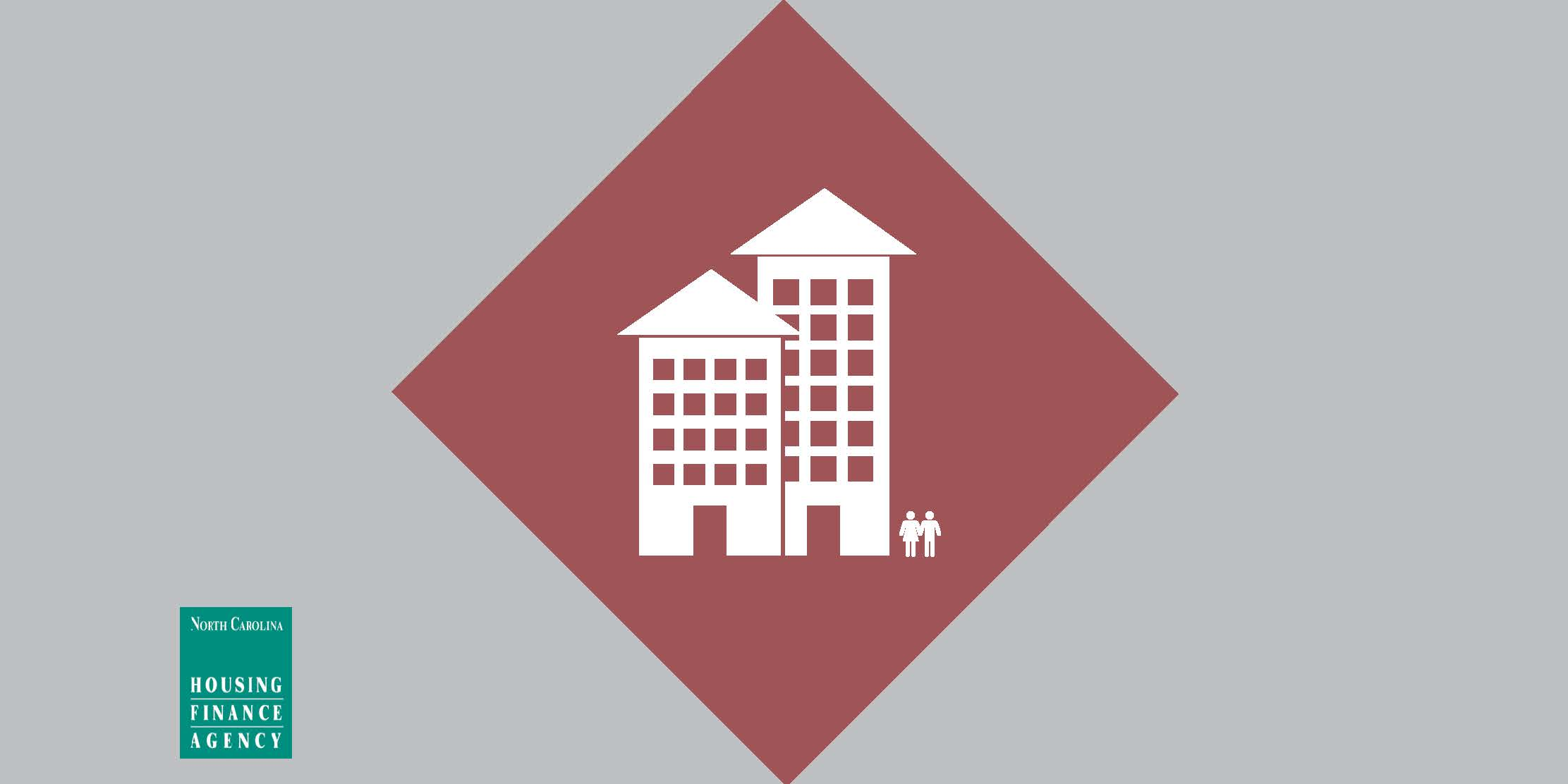 Apartments in center of red and gray graphic