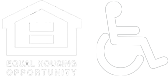 the equal housing opportunity logo and an icon of an individual in a wheelchair