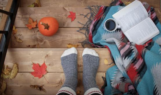 A fall scene with socks and a pumpkin with leaves