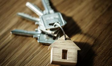 keys on a house shaped keychain