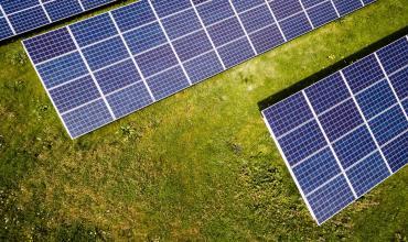 Energy panels against grass background