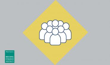 Yellow diamond with group of people in center of graphic