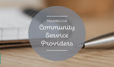 Graphic that says training for community service providers