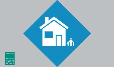 Blue diamond icon with house in the middle