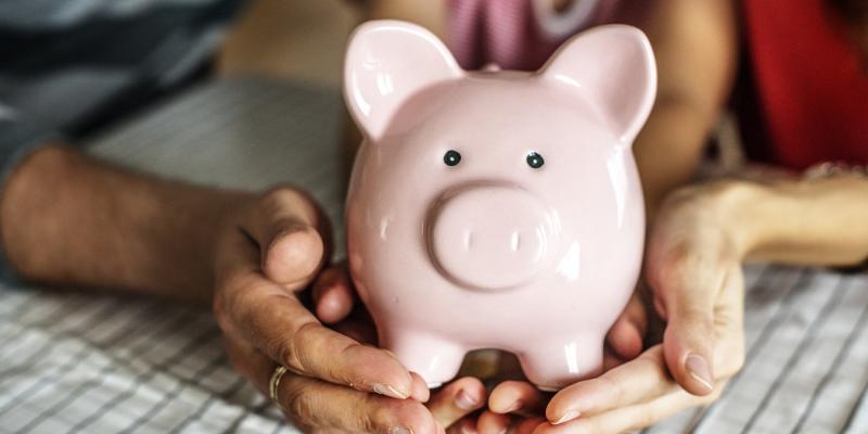 hands holding a pink piggy bank