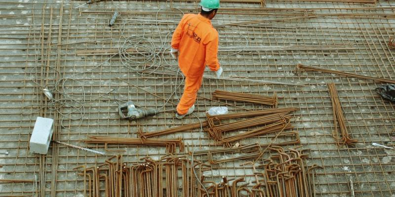 A construction worker on a building